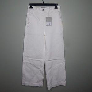 everlane women wide leg crop pants sz 4 /6 white
